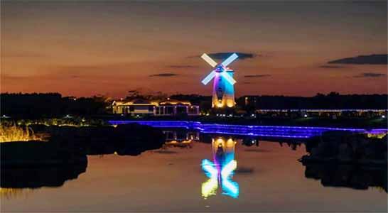 北戴河鸽子窝公园晚上夜景