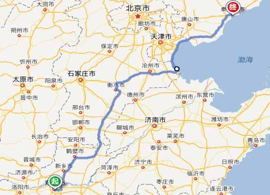 郑州到秦皇岛自驾游,路线